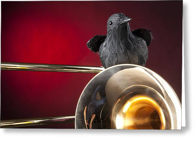 Crow. Bird Music Greeting Cards - Crow and Trombone on Red Greeting Card by M K  Miller