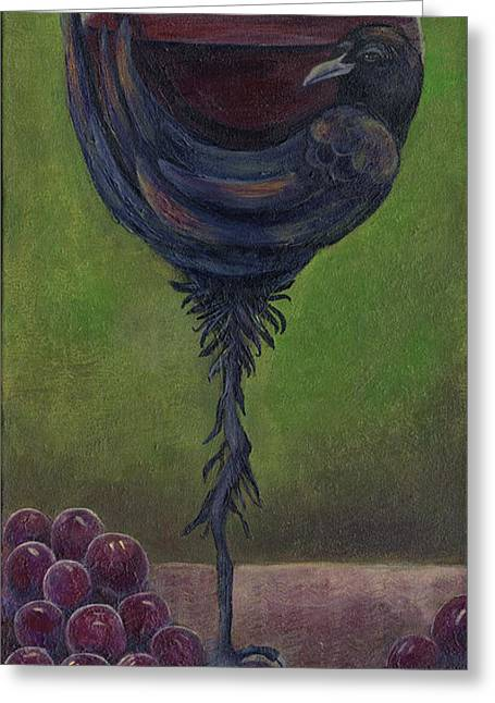 Wine Grape Print Greeting Cards - Crow Cabernet Greeting Card by Debbie McCulley