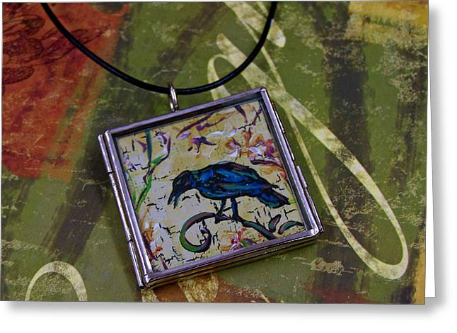 Green Abstract Jewelry Greeting Cards - Crow Greeting Card by Dana Marie