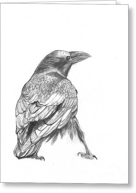 Crow Greeting Card by Kazumi Whitemoon