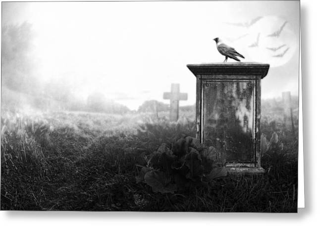 Funeral Greeting Cards - Crow on a gravestone Greeting Card by Jaroslaw Grudzinski