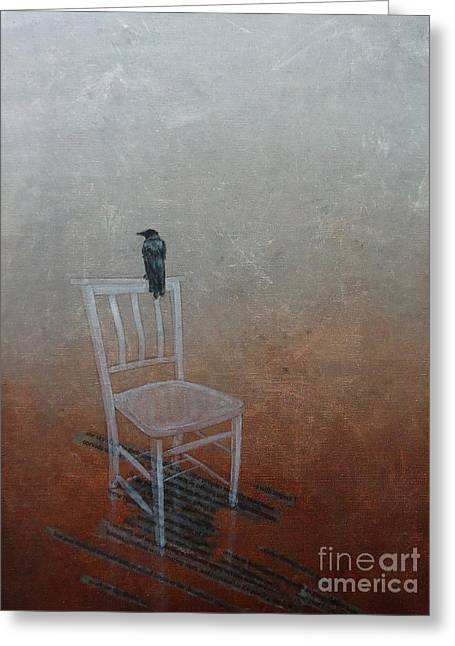 Ghostly Greeting Cards - Crow Greeting Card by Paul OBrien