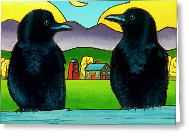 Crows Paintings Greeting Cards - Crow Tales Greeting Card by Stacey Neumiller