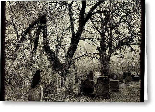 Photoart Greeting Cards - Crow Waits On Tombstone Greeting Card by Gothicolors Donna Snyder