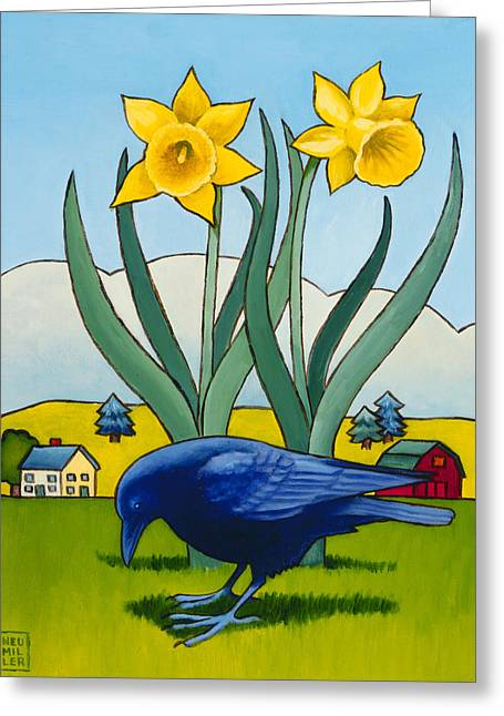 Crows Paintings Greeting Cards - Crow with Daffodils Greeting Card by Stacey Neumiller