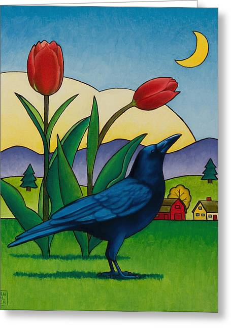 Crows Paintings Greeting Cards - Crow with Red Tulips Greeting Card by Stacey Neumiller