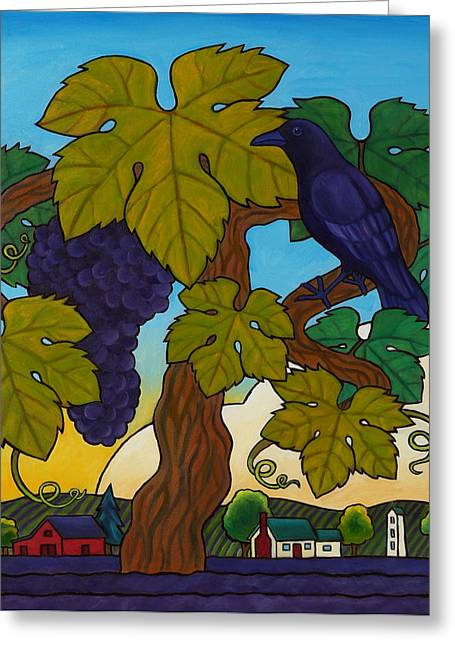 Grape Vines Greeting Cards - Crow with Wine on the Vine Greeting Card by Stacey Neumiller