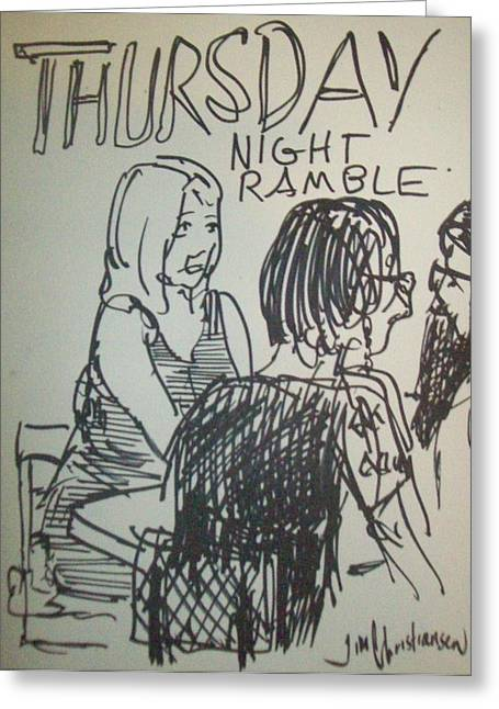 Night Cafe Drawings Greeting Cards - crowd at Thursday Night Ramble Greeting Card by James  Christiansen