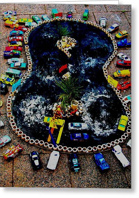 Rally Mixed Media Greeting Cards - Crowd of cars Greeting Card by Karen Elzinga