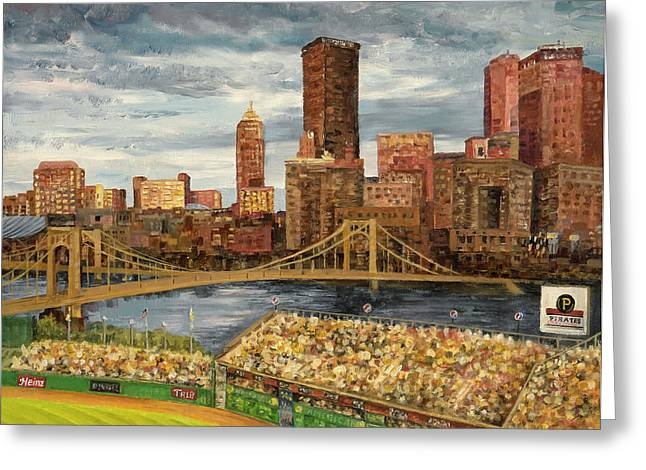 Baseball Stadiums Paintings Greeting Cards - Crowded at PNC Park Greeting Card by E E Scanlon