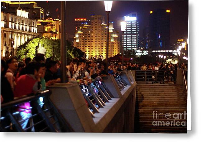 Waitan Greeting Cards - Crowds on the Bund Greeting Card by Rene Fuller