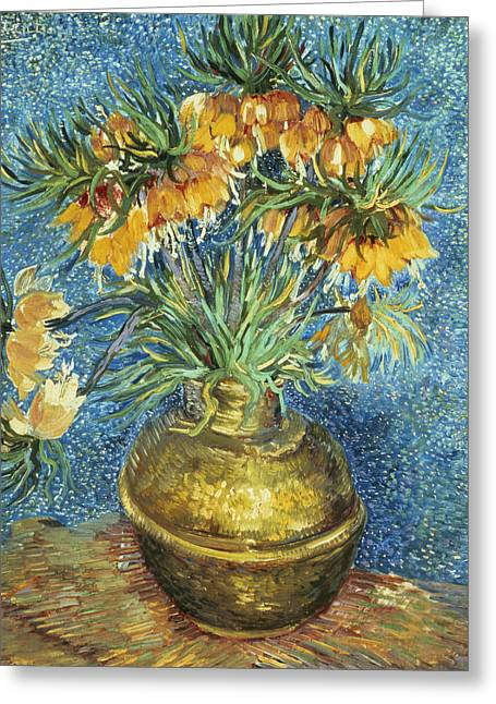 Copper Greeting Cards - Crown Imperial Fritillaries in a Copper Vase Greeting Card by Vincent Van Gogh