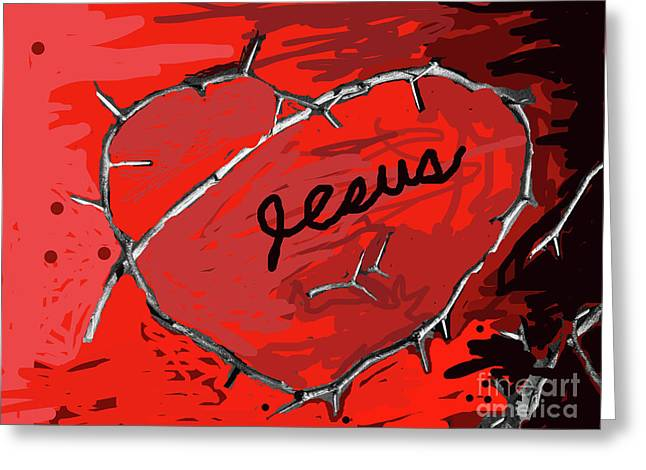 Jesus Crucifixion Framed Prints Greeting Cards - Crown Of Love Greeting Card by Joe Jake Pratt
