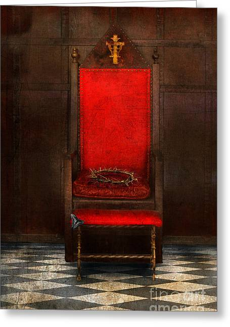 Forgiveness Greeting Cards - Crown of Thorns on Throne Greeting Card by Jill Battaglia