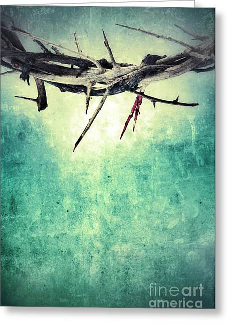 Forgiveness Greeting Cards - Crown of Thorns with Blood Greeting Card by Jill Battaglia