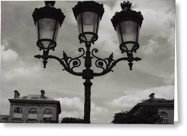 Black And White Paris Greeting Cards - Crowned Luminaires in Paris Greeting Card by Carol Groenen