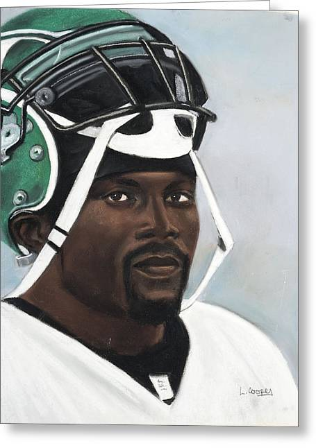 Quarterback Pastels Greeting Cards - Crowning Helmet Greeting Card by L Cooper