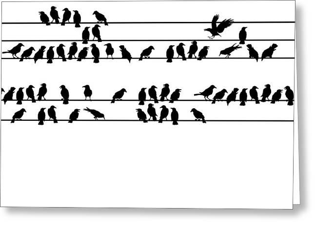 Crows Greeting Card by Allen Klein