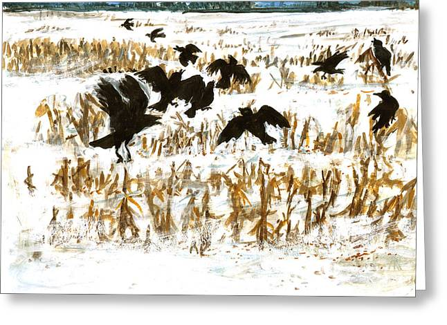 Winter Crows Greeting Cards - Crows in a Cornfield Greeting Card by Ethel Vrana