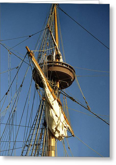 Ocean Sailing Greeting Cards - Crows Nest Greeting Card by Skip Willits