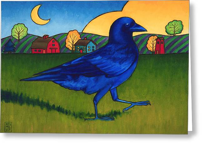 Crows Paintings Greeting Cards - Crows Run Greeting Card by Stacey Neumiller