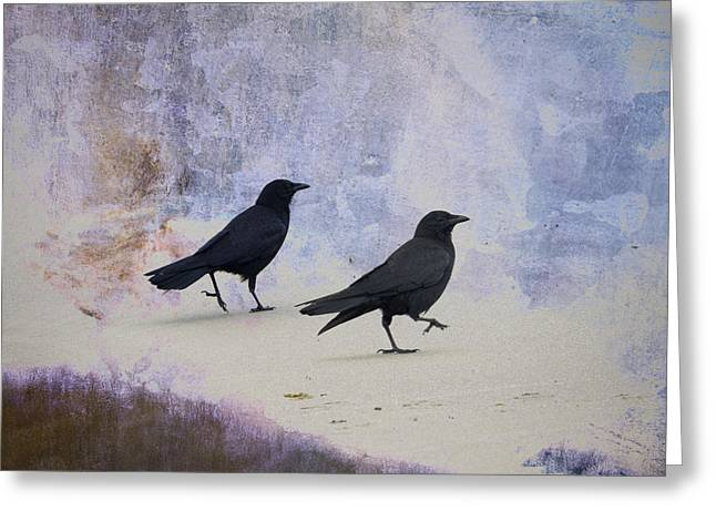 Crow Collage Greeting Cards - Crows Walking on the Beach Greeting Card by Carol Leigh