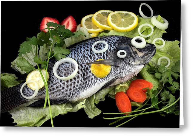 Strawberry Art Greeting Cards - Crucian fish with vegetable Greeting Card by Paul Ge
