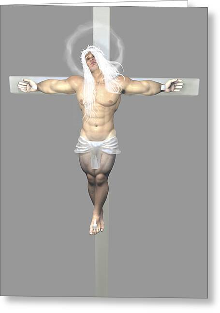 Freethinker Greeting Cards - Crucified Albinic Greeting Card by Joaquin Abella