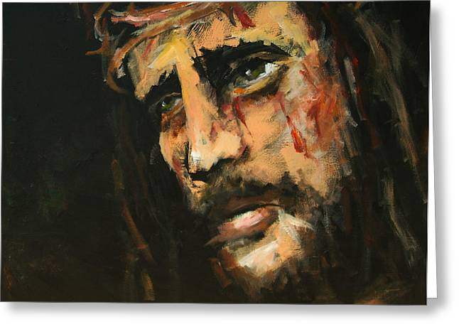 Spiritual Paintings Greeting Cards - Crucified Jesus Greeting Card by Carole Foret