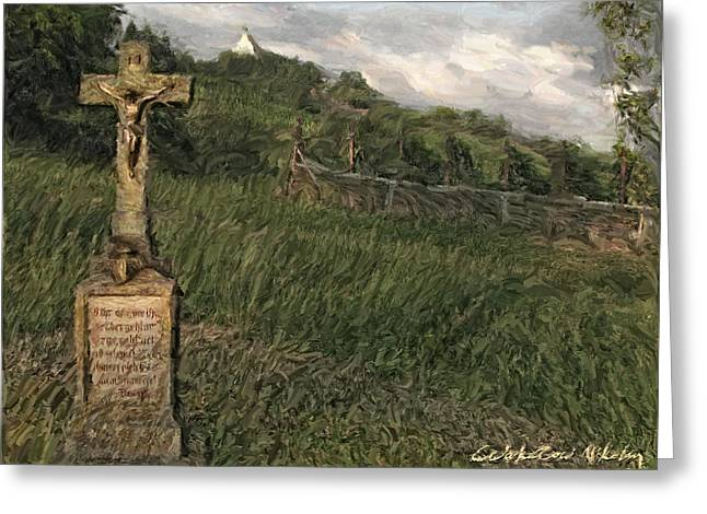 Old Country Roads Mixed Media Greeting Cards - Crucifix by the roadside Greeting Card by Nikolay Vakatov