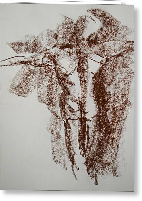 Crucifix Drawings Greeting Cards - Crucifix Greeting Card by Chris  Riley