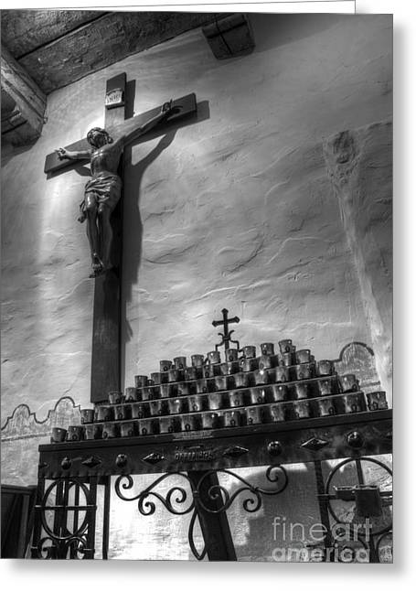 El Camino Real Greeting Cards - Crucifix Mission San Diego de Alcala Greeting Card by Bob Christopher