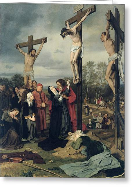 Crucifixion Greeting Cards - Crucifixion Greeting Card by Eduard Karl Franz von Gebhardt