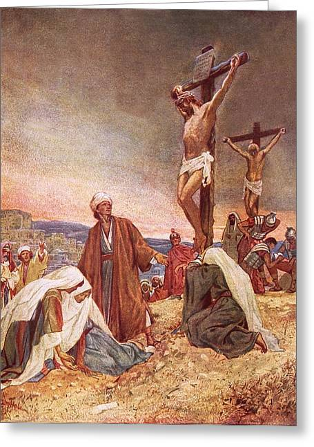 Calvary Greeting Cards - Crucifixion Greeting Card by William Brassey Hole