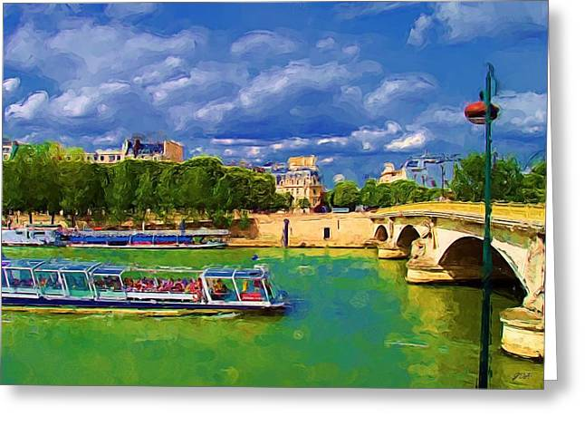 Painted In Paris Greeting Cards - Cruise on the Seine Greeting Card by Jenny Hudson