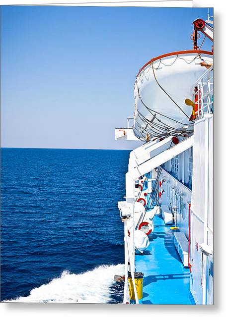 Boat Cruise Greeting Cards - Cruise ship Greeting Card by Tom Gowanlock