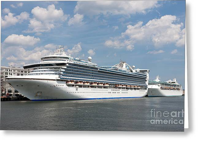 Cruise Terminal Greeting Cards - Cruise Ships at Cruiseport Boston Greeting Card by Clarence Holmes