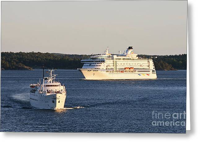 Baltic Sea Greeting Cards - Cruise Ships in the Baltic Sea Greeting Card by Jaak Nilson