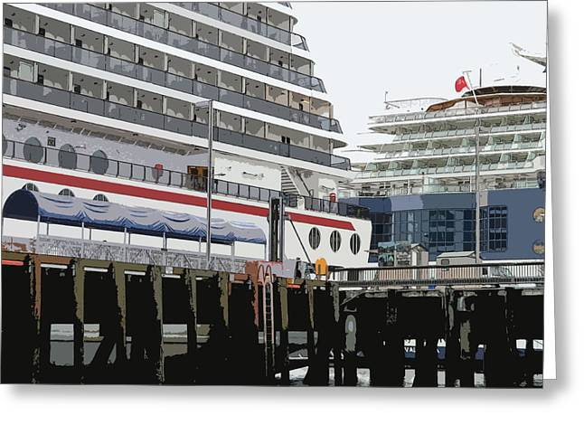 Boat Cruise Digital Greeting Cards - Cruise Ships Greeting Card by Mindy Newman