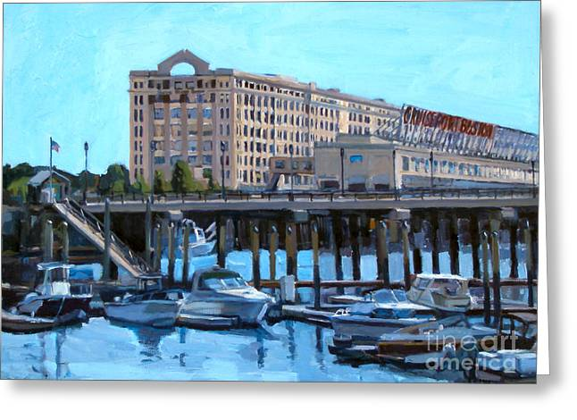 Cruise Terminal Greeting Cards - Cruiseport Boston Greeting Card by Deb Putnam