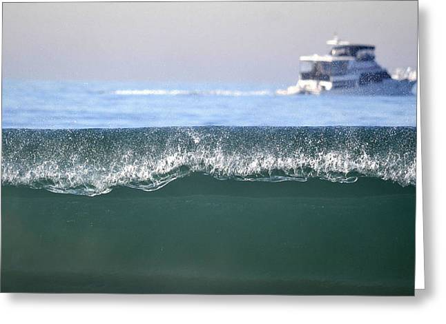 Boats On Water Greeting Cards - Cruising Beyond The Wave Greeting Card by Fraida Gutovich