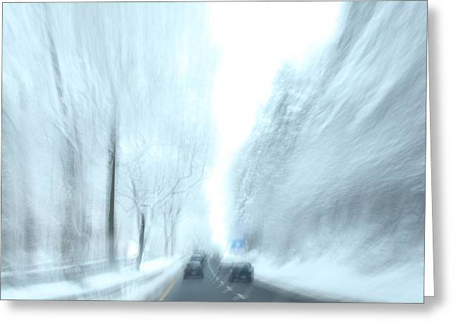 Snowstorm Greeting Cards - Cruising in a Snowstorm Greeting Card by Karol  Livote