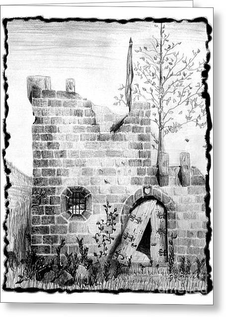 Crumbling Castle Greeting Card by Kristen Fox