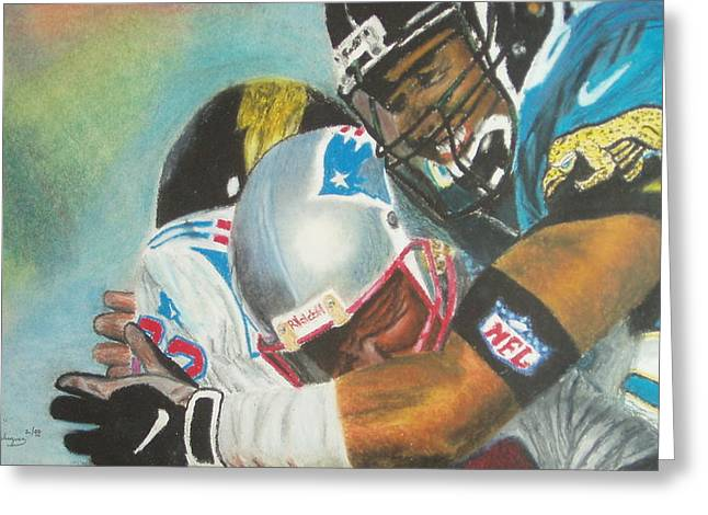 Football Pastels Greeting Cards - Crunch Greeting Card by Santiago Rodriguez