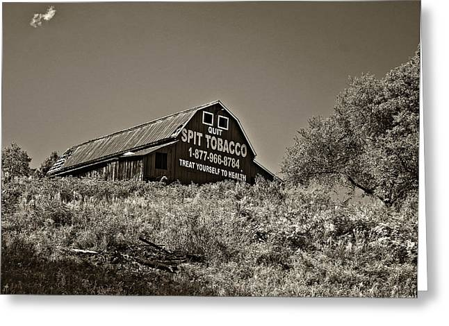 Chewing Tobacco Greeting Cards - Crusading Barn monochrome Greeting Card by Steve Harrington