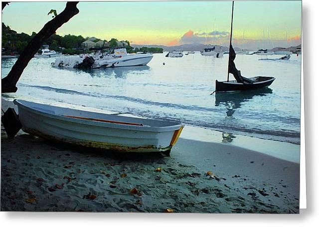 Crimson Tide Greeting Cards - Cruz Bay Morning Greeting Card by Michael Thomas