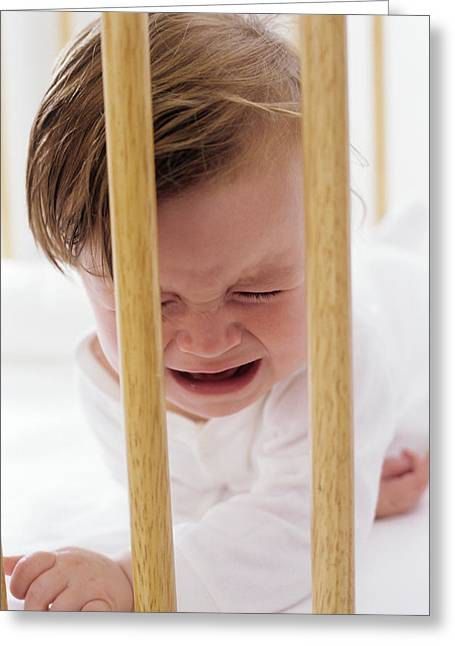 Child Care Greeting Cards - Crying Baby Greeting Card by Ian Boddy