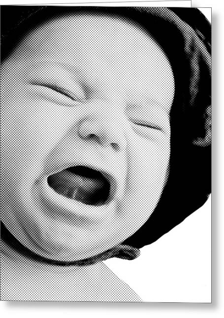 Susan Leggett Greeting Cards - Crying Baby in Halftone Black and White Greeting Card by Susan Leggett
