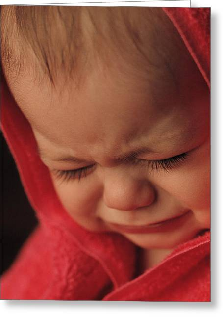 Baby Crying Greeting Cards - Crying Baby Greeting Card by John Wong