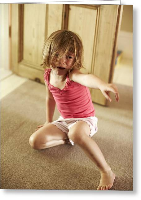 Child Care Greeting Cards - Crying Girl Greeting Card by Ian Boddy
